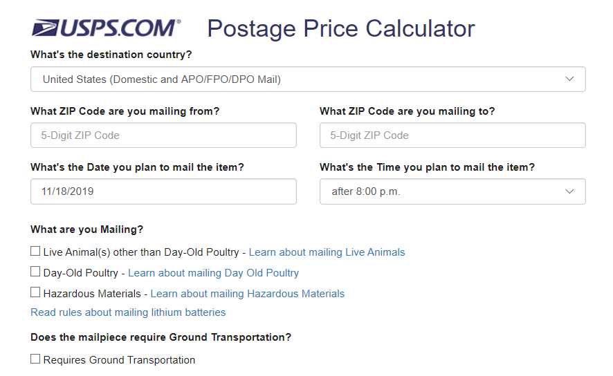 Postage Price Calculator by USPS